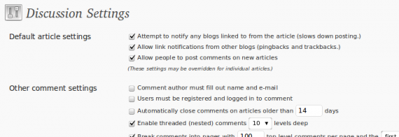 WordPress Comments setting