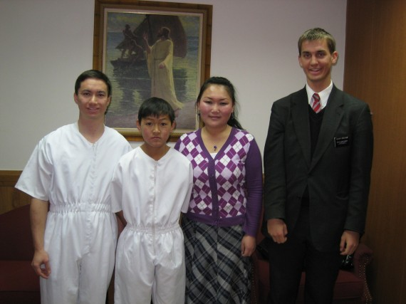 Elder Armstrong (left) and Daniel (right) and the baptism of Jargal Caikan