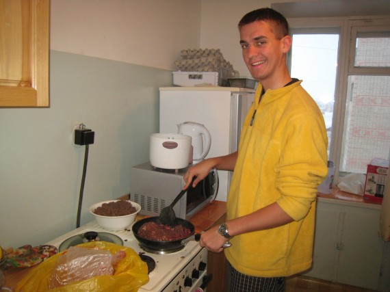Daniel preparing chili for zone conference