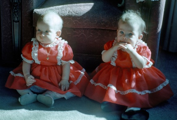 Terry and Jill in Valentines dresses