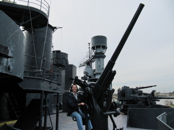 Battleship Texas Jill mans the guns