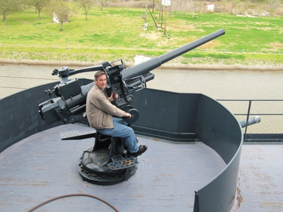 Battleship Texas Rick mans the guns