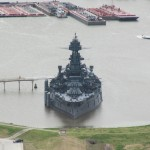 Battleship Texas from the San Jacinto Monument