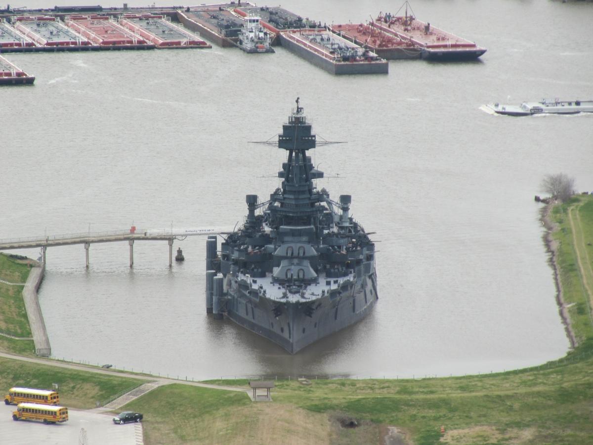 Battleship Texas from the San Jacinto Monument