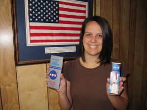 Rachel holding NASA chocolate