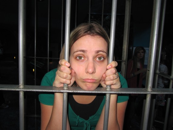 Sarah behind bars