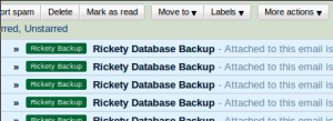 Database backup by email