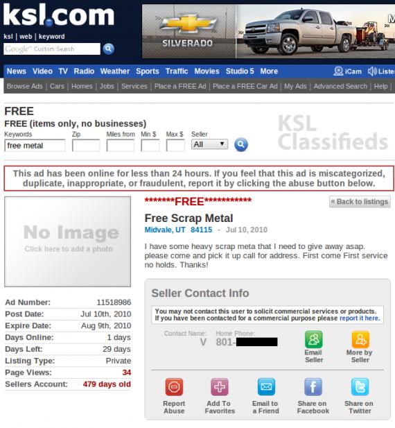 KSL Free Scrap Metal ad