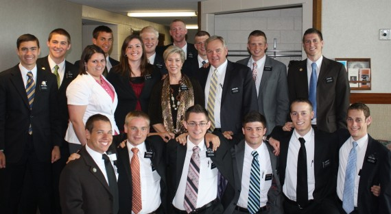 President and Sister Greer with missionaries. Daniel is third from left rear.