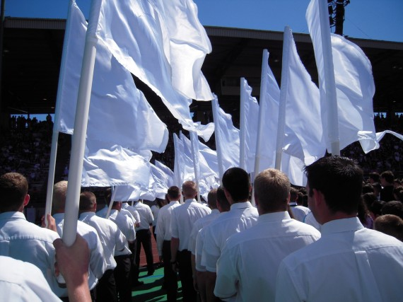 We walked out with white flags on both sides of the youth