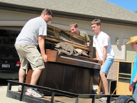 Loading the piano