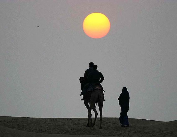 Camel ride in Thar Desert, Rajasthan, India