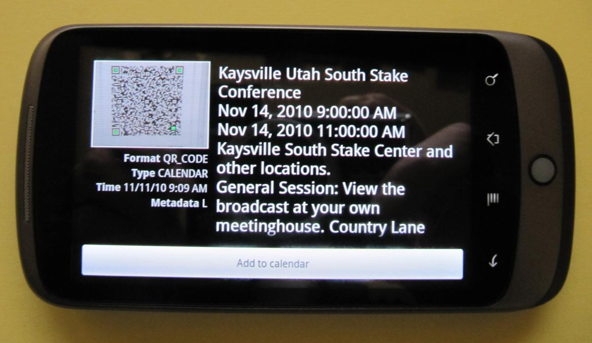 Nexus One displays data from QR Code scan