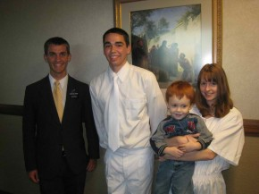 Elder Willoughby and Elder Hardy prepare for a baptism