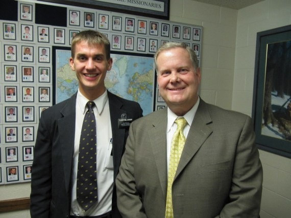 Daniel and his stake president, President Thredgold