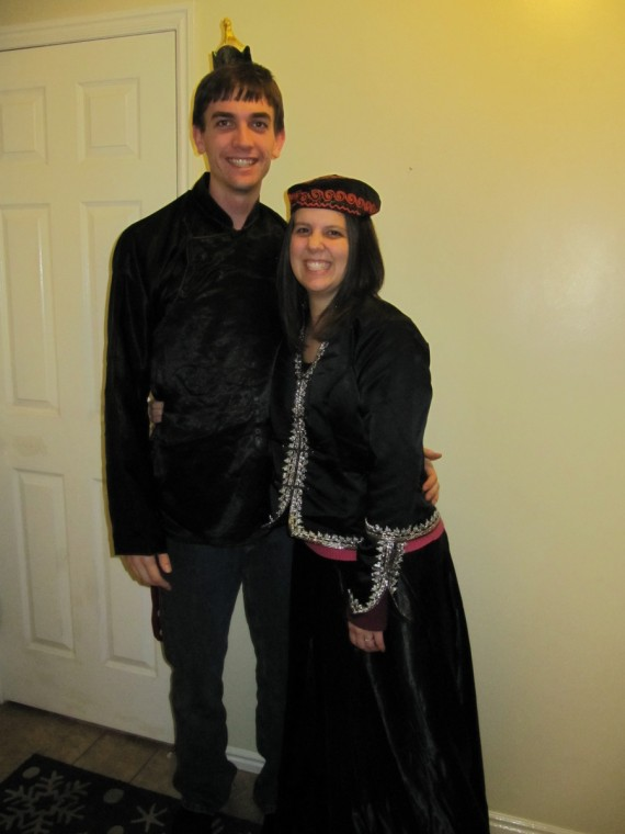 Jacob and Rachel wearing Mongolian clothes