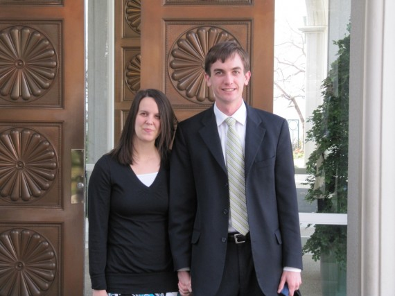 Rachel and Jake at the Bountiful Temple doors