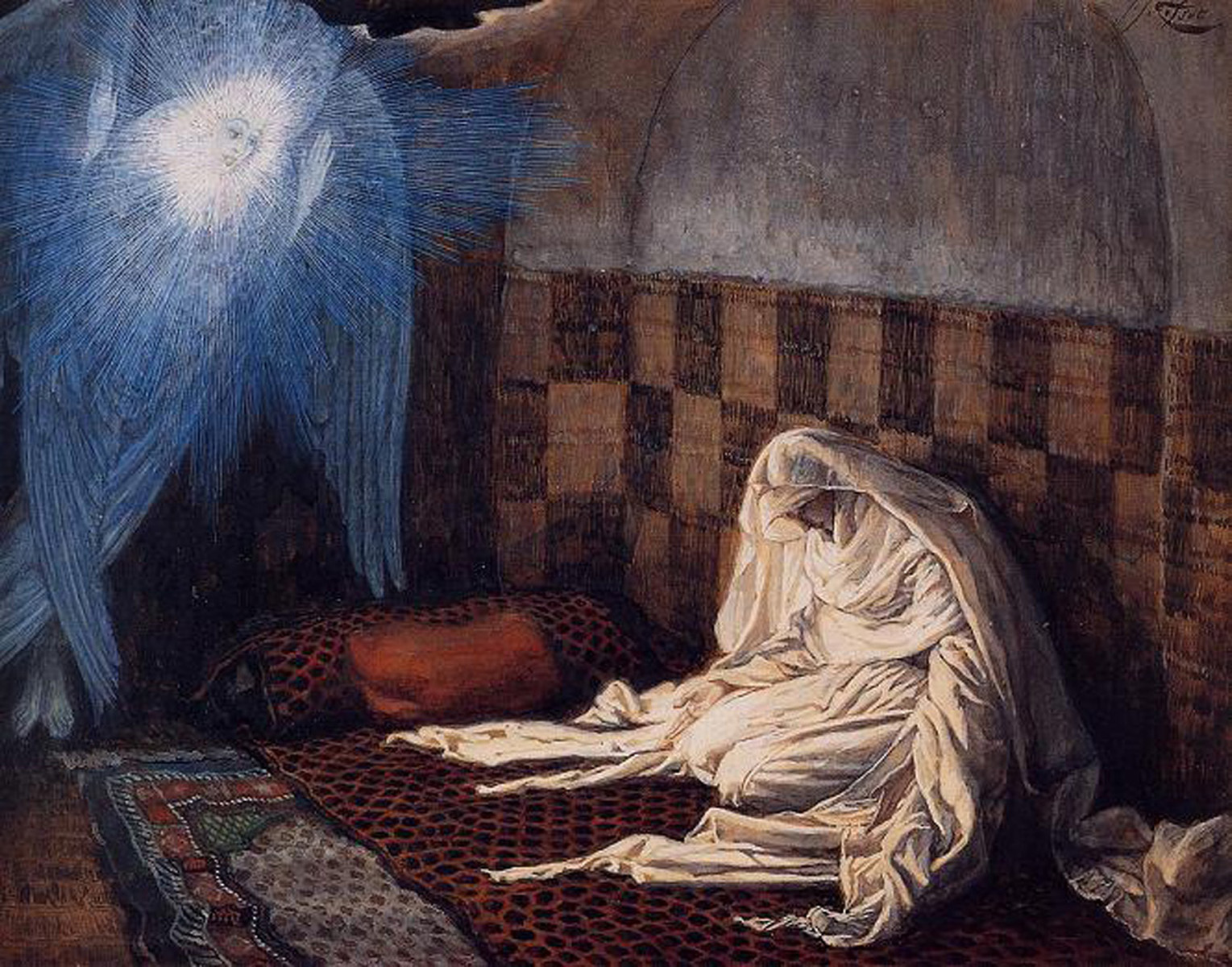 James tissot paints the birth of christ for John s painting