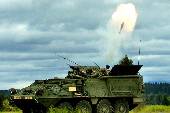 Firing 120mm mortars from Stryker MCV-B
