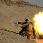 Firing AT-4 light anti-armor weapon