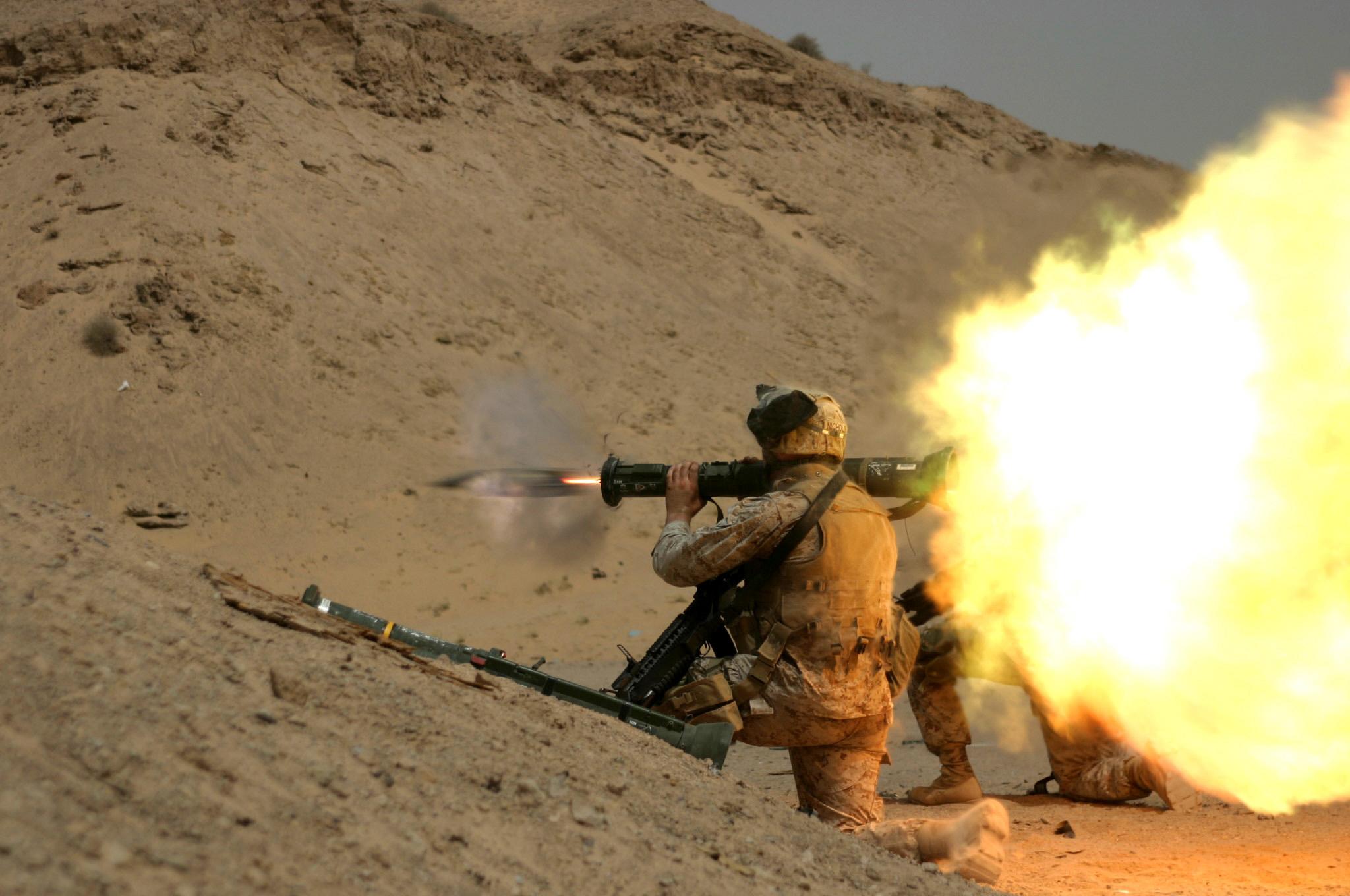 Firing AT-4 light anti-armor weapon