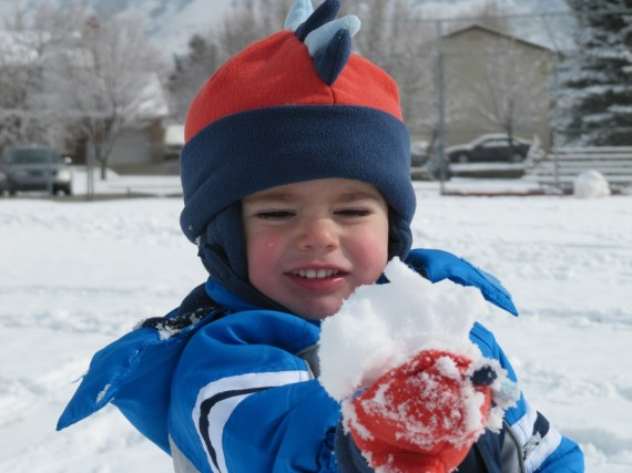Bryson with a snowball