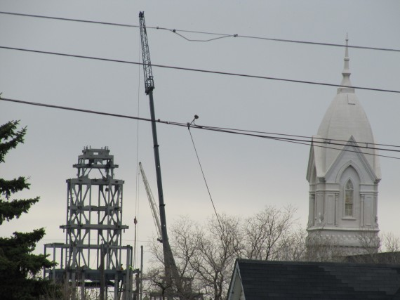 Brigham City Temple spire and Tabernacle spire