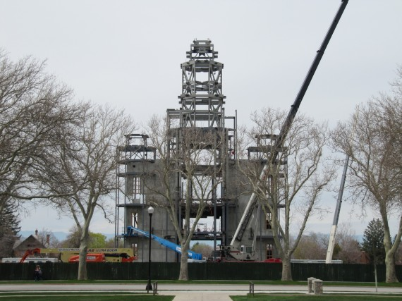 Brigham City Temple Spire being constructed