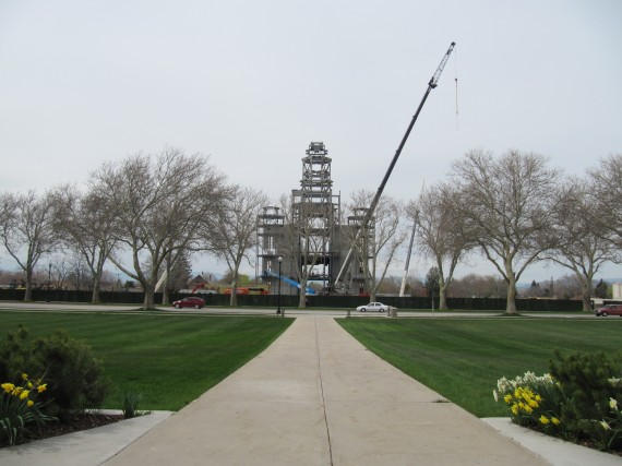 Brigham City Temple Spire under construction