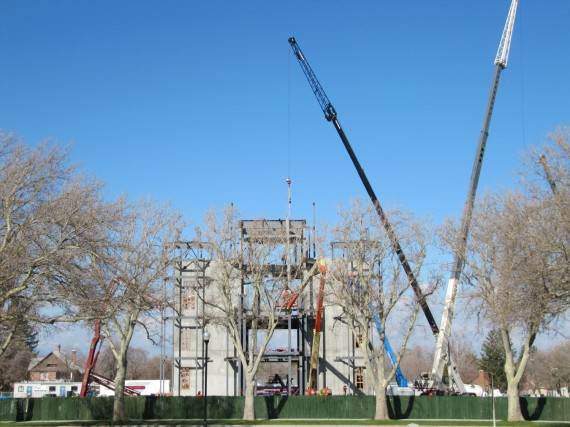 Brigham City Temple construction using tall cranes
