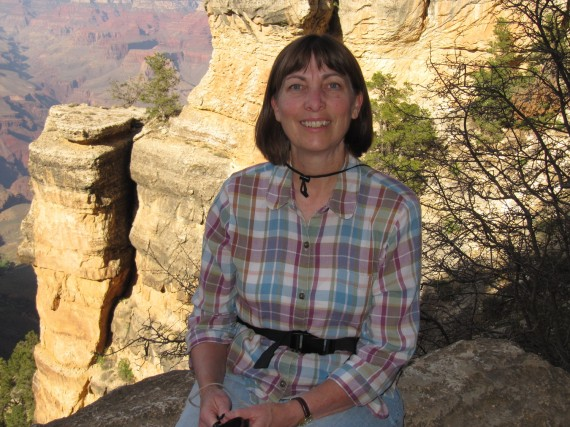 Jill pausing for a photograph on the Bright Angel Trail