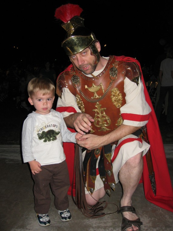 Mesa Easter Pageant Bryson with a Roman soldier