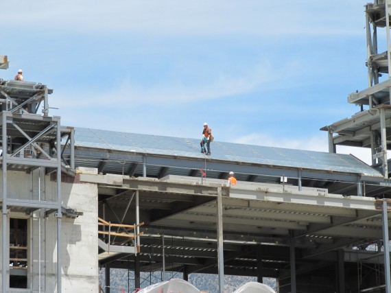 Brigham City Temple construction worker on the roof