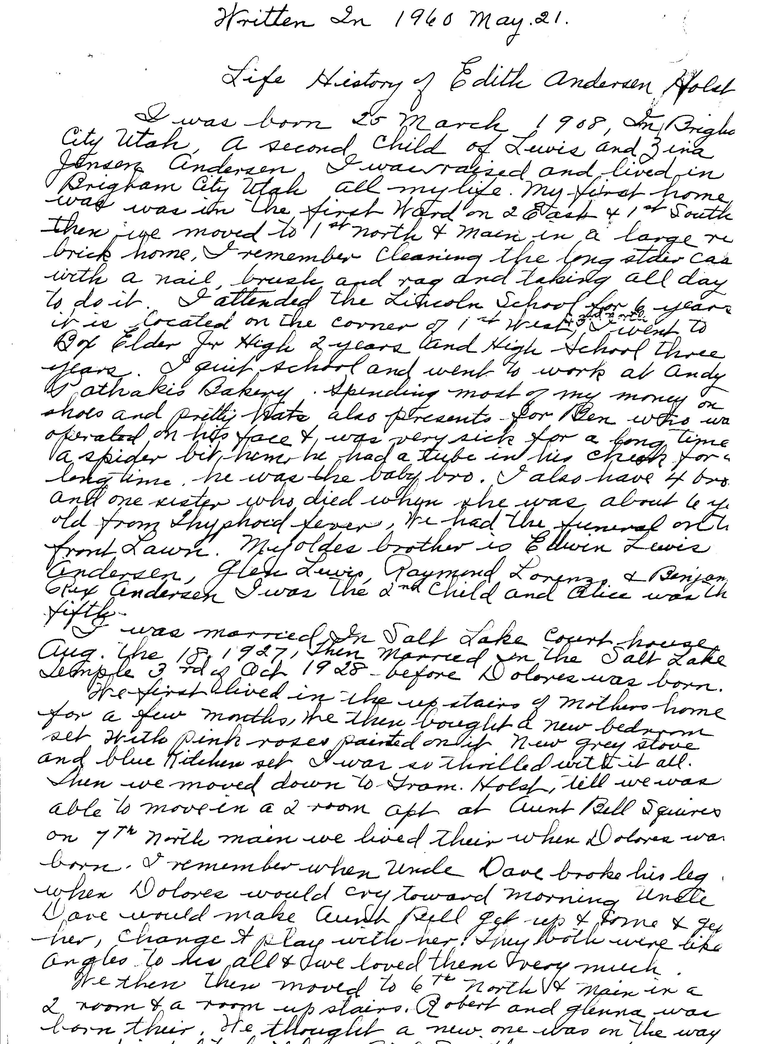 Edith Andersen Holst life history part 1