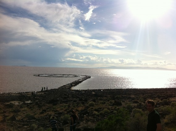 Spiral Jetty from shore
