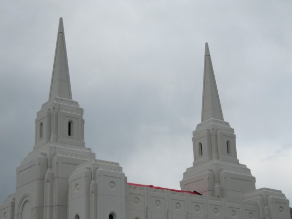 Brigham City Temple spires closeup