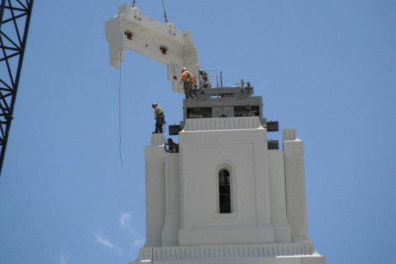 Brigham City temple spire base finishing touches
