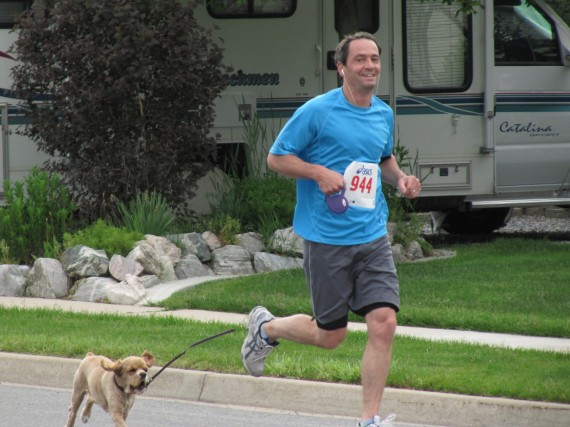 Kaysville Utah South Stake 5K runner with dog