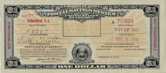 Postal Savings Certificate of Deposit 1941