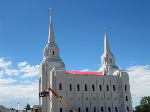 Brigham City Utah Temple Moroni atop east spire