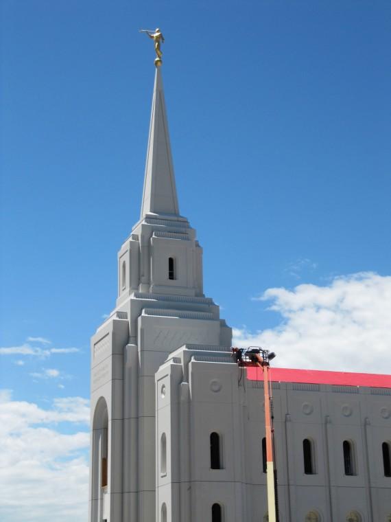 Brigham City Utah Temple Moroni high above