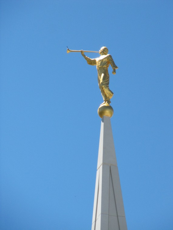 Brigham City Utah Temple Moroni installed