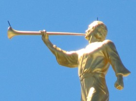 Brigham City Utah Temple Moroni lightning arrestors