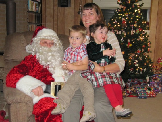 Jill and grandchildren with Father Christmas