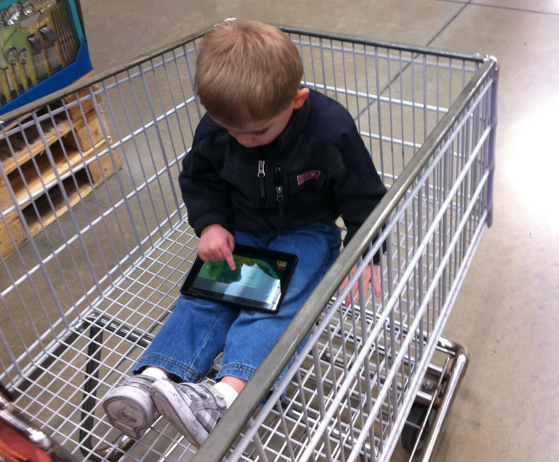 Bryson Playing Angry Birds on a Kindle Fire