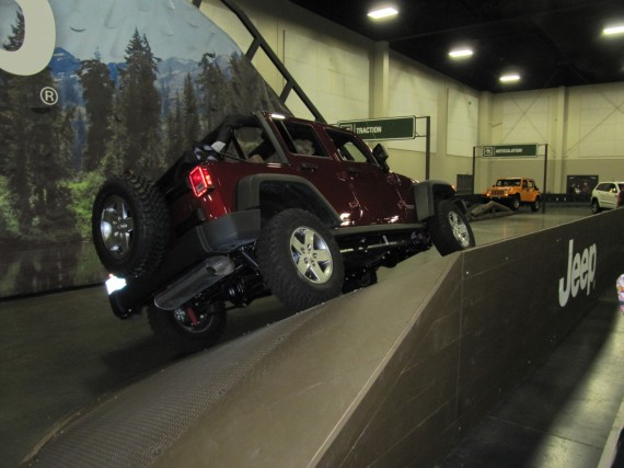 Jeep Wrangler on obstacle course