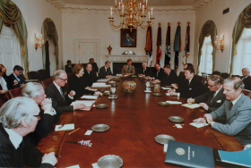 Margaret Thatcher White House cabinet room talks