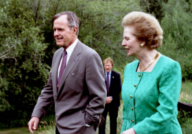Margaret Thatcher with George Bush at Aspen press conference